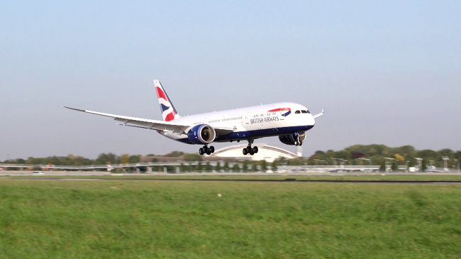 BRITISH AIRWAYS' FIRST 787-9 ARRIVES AT HEATHROW