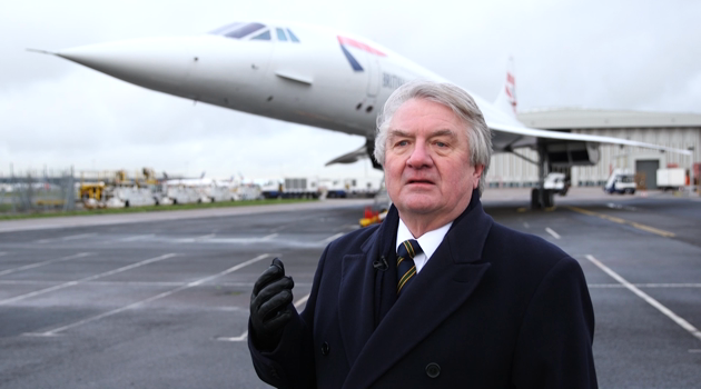 CAPTAIN MIKE BANNISTER INTERVIEWS BY CONCORDE AT HEATHROW AHEAD OF THE 40TH ANNIVERSARY OF THE FIRST COMMERCIAL FLIGHT